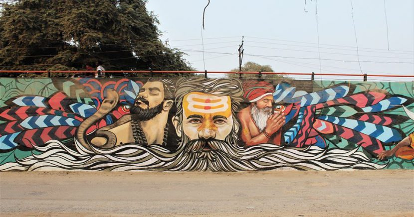 Mural by Afzan at Kumbh Mela along with Lobster