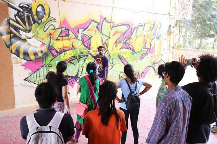 Omkar giving a tour of Marol Art Village