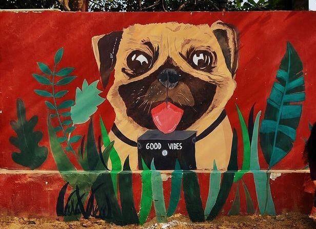 artist aanchal gupta dog mural at ladies first street art gurugram