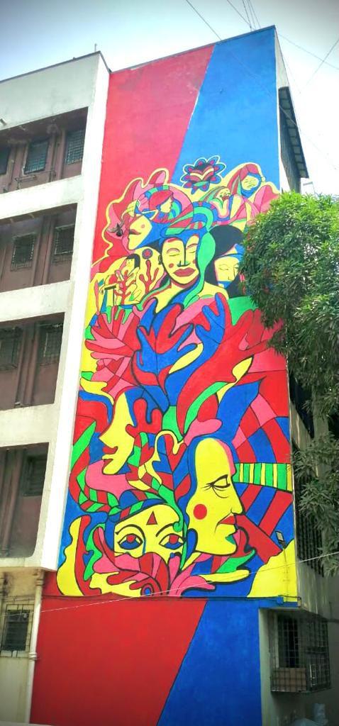 mural by krantinaari in mumbai at ladies first street art marol art village