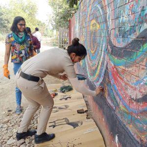 ladies first street art gurugram mahila police thana sec 52
